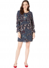 Bobeau Printed Shift Dress With Tie Sleeves