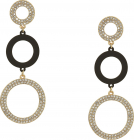 Guess 3 Ring Linear Drop Earrings With Sprayed Black