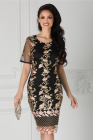 Rochie Taylor Neagra Cu Broderie Aurie Si Margelute Roz