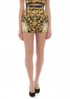 Yellow And Black Shorts With Baroque Print