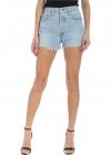 Fringed Shorts In Light Blue Denim