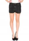 Black Shorts With Fringed Edges