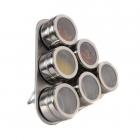 Set Condimente Grunberg Cu Suport Magnetic 7 Piese  Inox  Model Triunghi