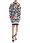 Phoenix Jacquard Dress In White And Black