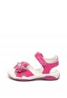 Sandale De Piele Nabuc   Cu Velcro Si Aplicatie Florala