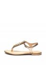 Sandale De Piele Cu Bareta In T Si Aplicatii Cu Strasuri Sozy Plus