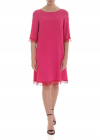 Fuchsia Crepe Dress With Lace Trim
