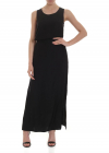 Sleeveless Dress In Black Satin