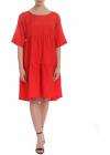 Oversized Dress In Red Satin