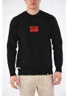 Cotton Blend Distressed Sweatshirt