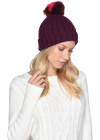 Multicolored Sheepskin Pom Knit Hat