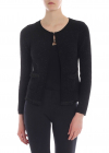 Black Lamé Cardigan With Fringes Detail