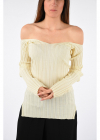 Ribbed Off Shoulders Sweater