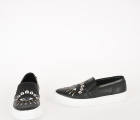 Leather Embroidered Slip On