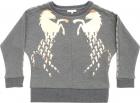 Sweatshirt In Grey Melange With Laminated Horse Prints