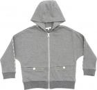 Hoodie In Grey Melange With Zip