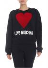 Love Moschino Flock Heart Sweatshirt In Black