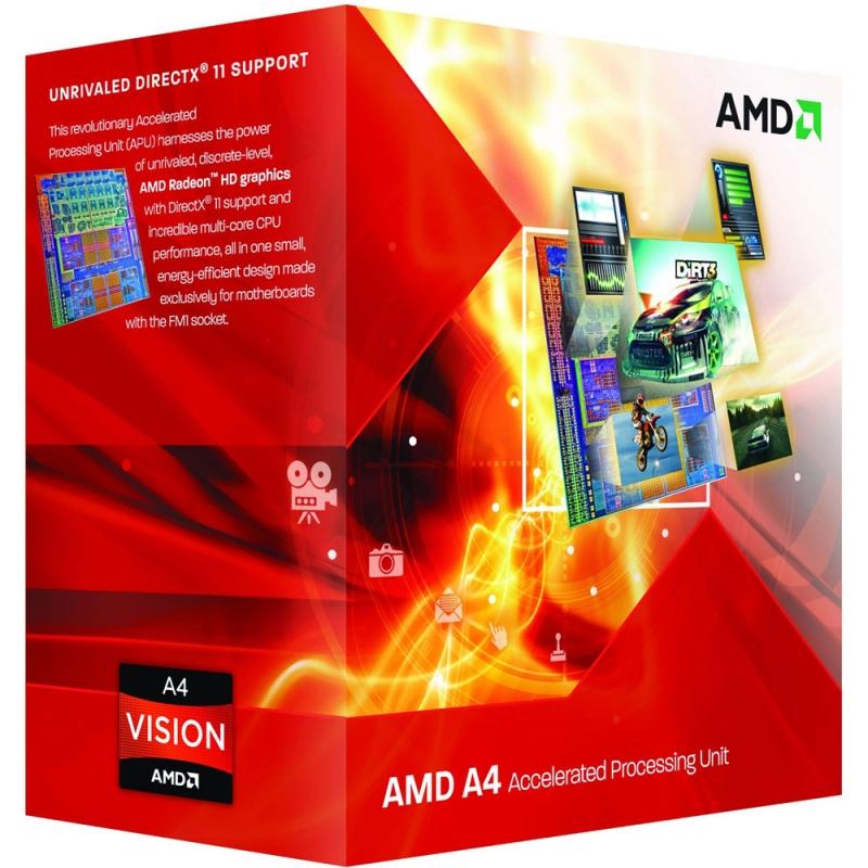 CPU AMD skt FM2 A4 X2 4000 3.00/3.20GHz, 1MB cache, 65W, BOX 'AD4000OKHLBOX'