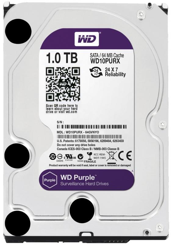 HDD WD Purple 1TB 64MB SATA3 (WD10PURX)