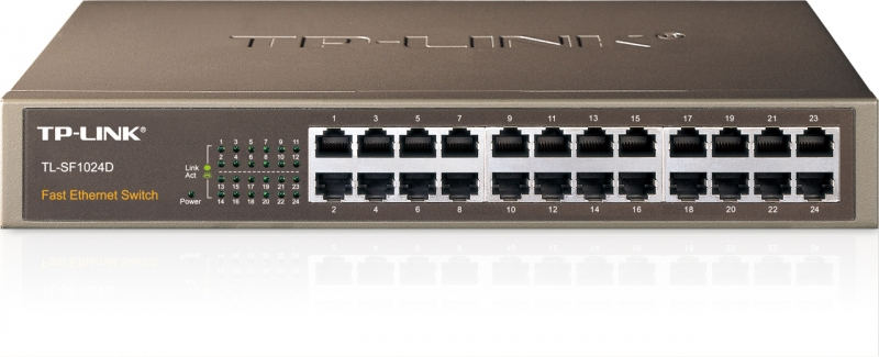 Switch 24 porturi 10/100 TP-LINK TL-SF1024D, carcasa metalica, rack 13'