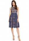 Sleeveless Lace Midi with Contrast Lining