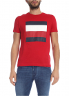 Red T Shirt With Contrasting Logo Print
