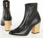 7 5cm Leather Boots Gold tone Heel