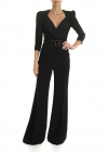 Black Crepe Jumpsuit With Logo