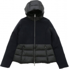 Winter Hybrid Hood Girl Jacket In Black
