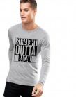 Bluza barbati gri cu text negru Straight Outta Bacau