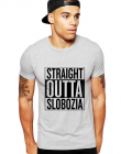 Tricou barbati gri cu text negru Straight Outta Slobozia