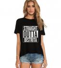 Tricou dama negru Straight Outta Bistrita