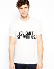 Tricou Sit With Us Alb