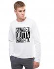 Bluza barbati alba Straight Outta Harghita