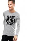 Bluza barbati gri cu text negru Straight Outta Suceava
