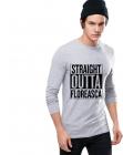Bluza barbati gri cu text negru Straight Outta Floreasca