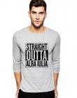 Bluza barbati gri cu text negru Straight Outta Alba Iulia