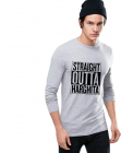 Bluza barbati gri cu text negru Straight Outta Harghita