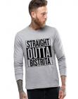 Bluza barbati gri cu text negru Straight Outta Bistrita