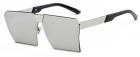 Ochelari de soare Rectangular Plat Oglinda Gri cu Argintiu