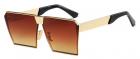Ochelari de soare Rectangular Plat Oglinda Maro Auriu