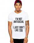Tricou alb barbati Im not antisocial