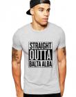 Tricou barbati gri cu text negru Straight Outta Balta Alba