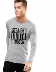 Bluza barbati gri cu text negru Straight Outta Tulcea