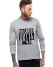 Bluza barbati gri cu text negru Straight Outta Buzau