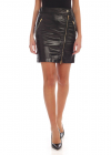 Coated Cotton Mini Skirt With Zip Details
