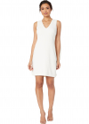 Crepe V Neck Shift Dress