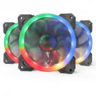 Set 3 ventilatoare F008 120mm iluminare RGB