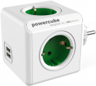 Priza prelungitor Allocacoc PowerCube Original 2x USB 4x Schuko Green
