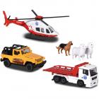 Set Majorette Diorama Mountain Rescue cu 2 masinute 1 elicopter si 3 f
